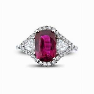 Natural Cushion Cut Ruby & Diamond Cluster 2.00ct